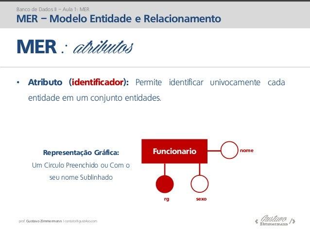 prof. Gustavo Zimmermann | contato@gust4vo.com • Atributo (identificador): Permite identificar univocamente cada entidade ...
