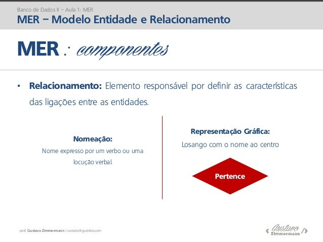 prof. Gustavo Zimmermann | contato@gust4vo.com • Relacionamento: Elemento responsável por definir as características das l...
