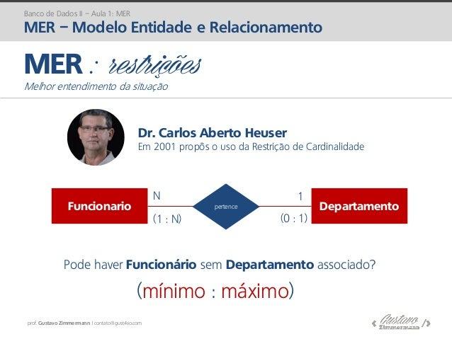 prof. Gustavo Zimmermann | contato@gust4vo.com MER : restrições Melhor entendimento da situação Funcionario Departamentope...