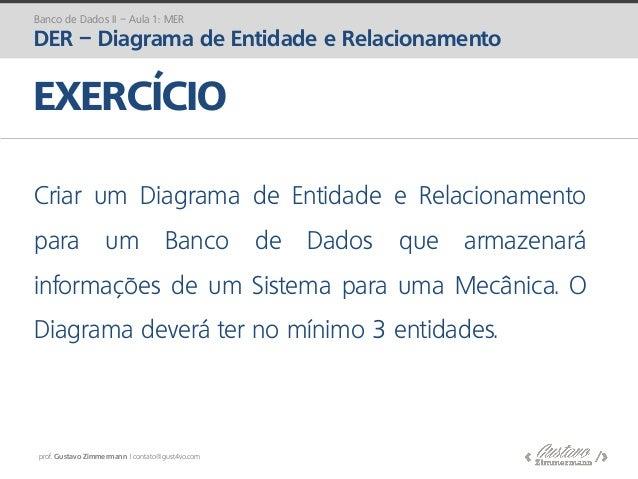 prof. Gustavo Zimmermann | contato@gust4vo.com EXERCÍCIO Criar um Diagrama de Entidade e Relacionamento para um Banco de D...