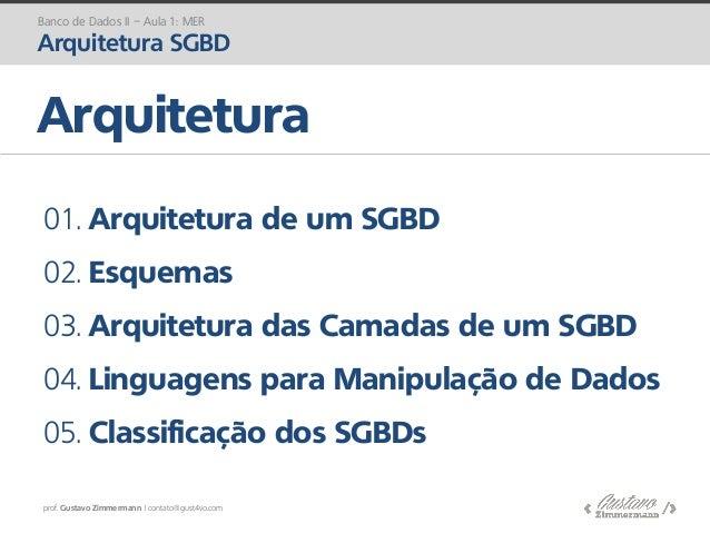 prof. Gustavo Zimmermann | contato@gust4vo.com Banco de Dados II – Aula 1: MER Arquitetura SGBD Arquitetura 01. Arquitetur...