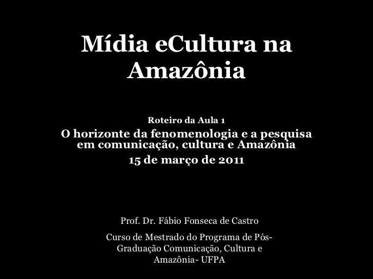 Mídia eCultura na Amazônia<br />Roteiro da Aula 1<br />O horizonte da fenomenologia e a pesquisa em comunicação, cultura e...