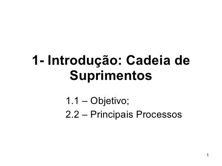 1- Introdução: Cadeia de Suprimentos 1.1 – Objetivo; 2.2 – Principais Processos
