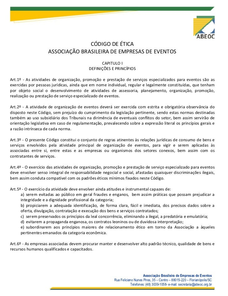 CÓDIGO DE ÉTICA                    ASSOCIAÇÃO BRASILEIRA DE EMPRESAS DE EVENTOS                                           ...
