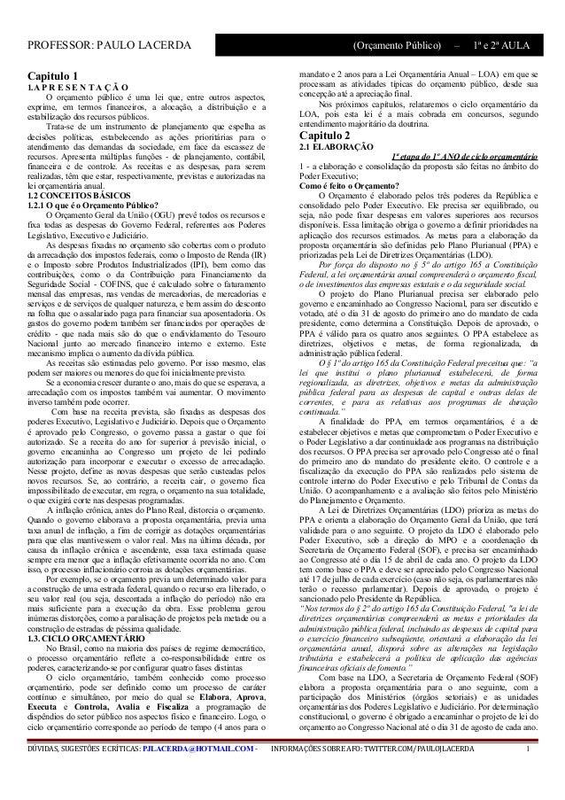 PROFESSOR: PAULO LACERDA                                                                      (Orçamento Público)         ...