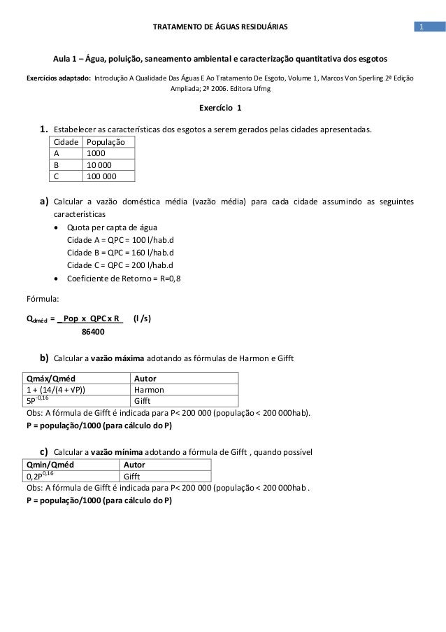 TRATAMENTO DE ÁGUAS RESIDUÁRIAS  Aula 1 – Água, poluição, saneamento ambiental e caracterização quantitativa dos esgotos E...
