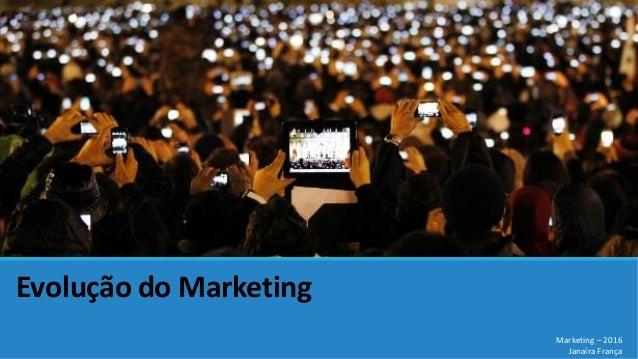 Evolução do Marketing Marketing – 2016 Janaíra França
