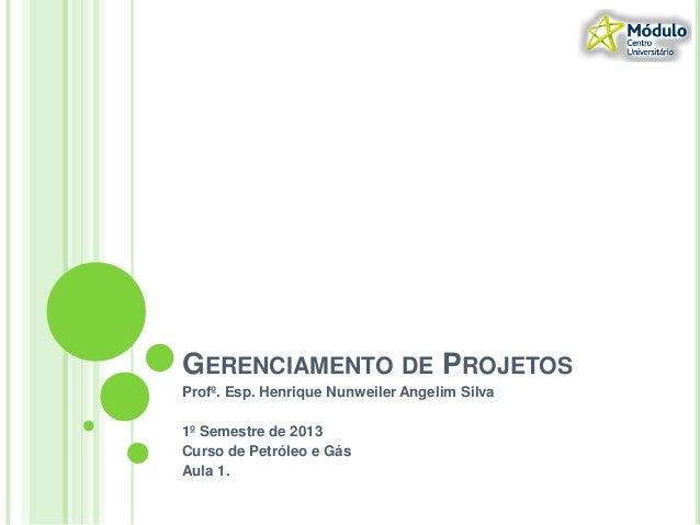 GERENCIAMENTO DE PROJETOSProfº. Esp. Henrique Nunweiler Angelim Silva1º Semestre de 2013Curso de Petróleo e GásAula 1.
