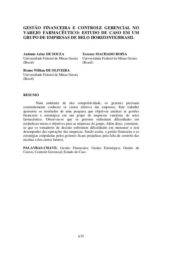 GESTÃO FINANCEIRA E CONTROLE GERENCIAL NOVAREJO FARMACÊUTICO: ESTUDO DE CASO EM UMGRUPO DE EMPRESAS DE BELO HORIZONTE/BRAS...