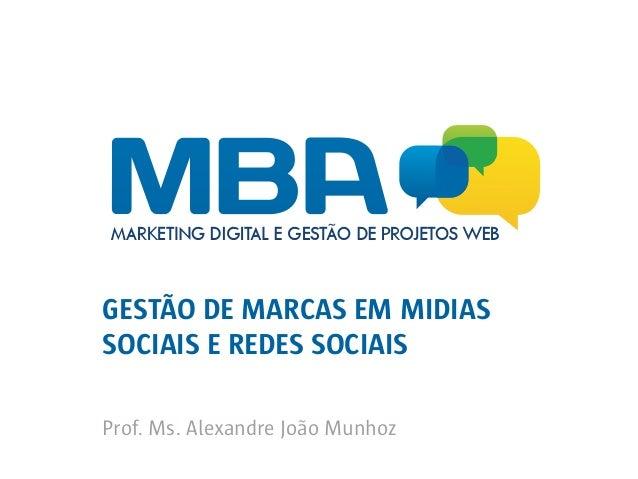 GESTÃO DE MARCAS EM MIDIAS SOCIAIS E REDES SOCIAIS Prof. Ms. Alexandre João Munhoz