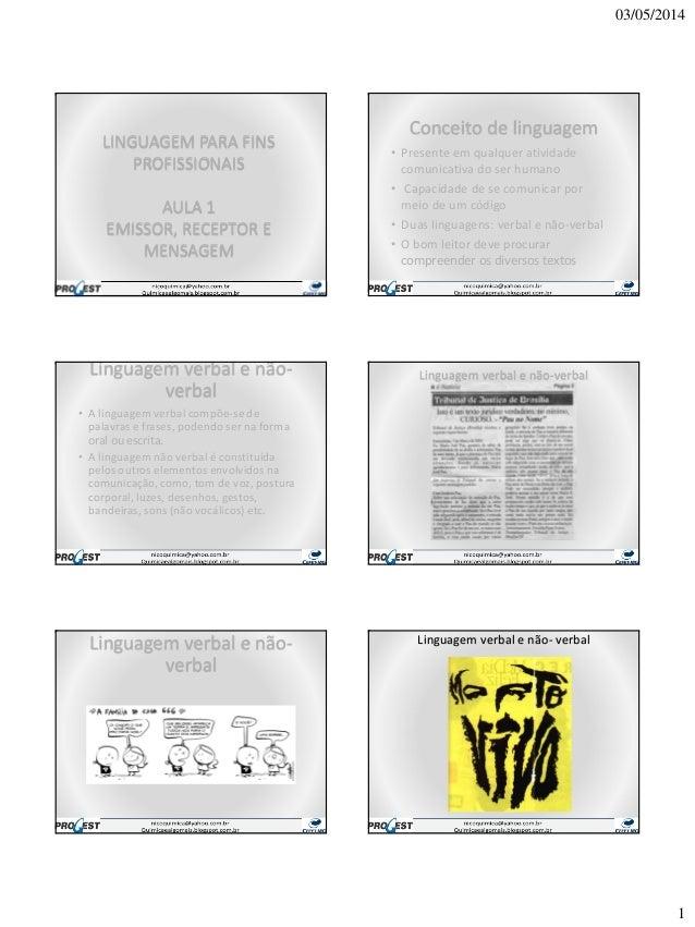 03/05/2014 1 LINGUAGEM PARA FINS PROFISSIONAIS AULA 1 EMISSOR, RECEPTOR E MENSAGEM Conceito de linguagem • Presente em qua...