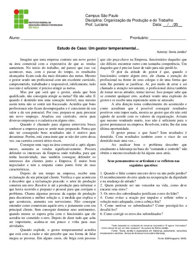 Campus São Paulo                                                     Disciplina: Organização da Produção e do Trabalho    ...