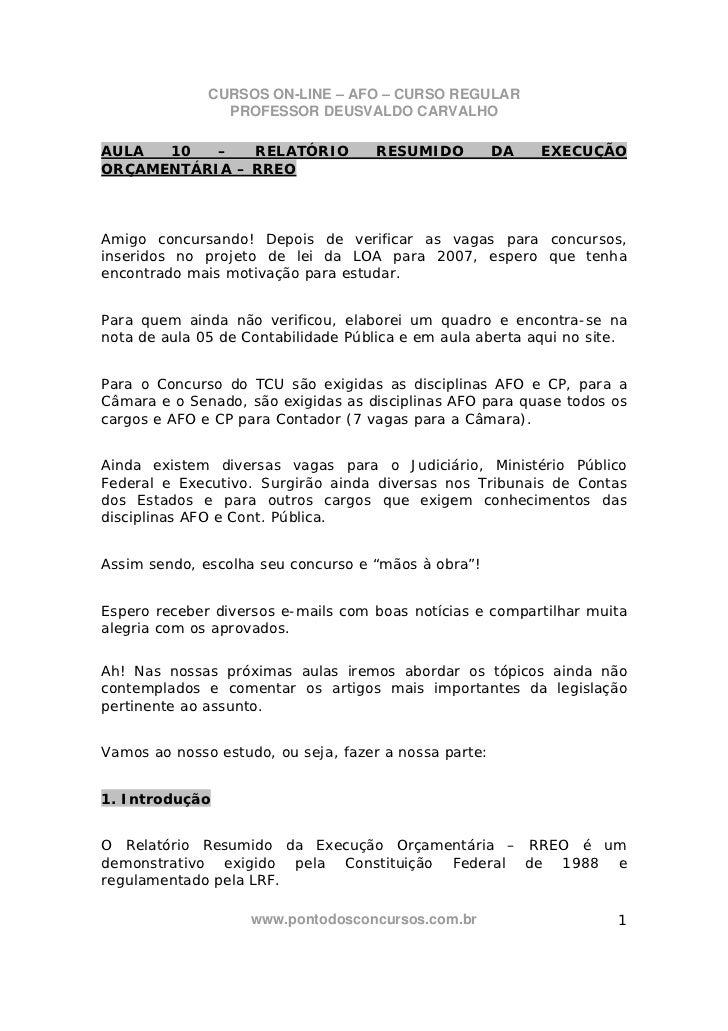 CURSOS ON-LINE – AFO – CURSO REGULAR                PROFESSOR DEUSVALDO CARVALHOAULA  10   –   RELATÓRIO             RESUM...