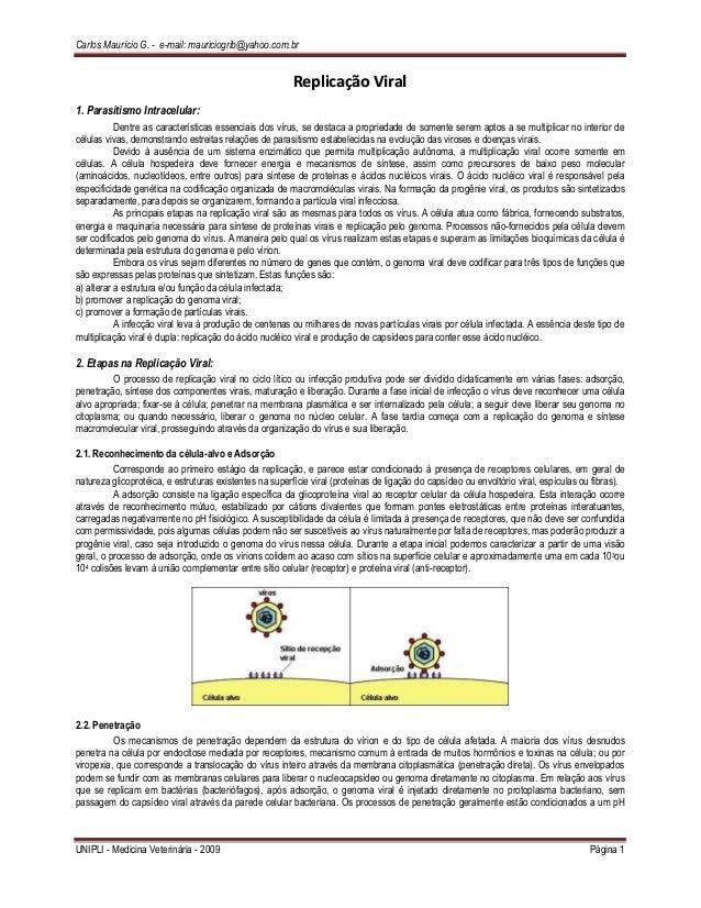 Carlos Maurício G. - e-mail: mauriciogrib@yahoo.com.br UNIPLI - Medicina Veterinária - 2009 Página 1 RReepplliiccaaççããoo ...