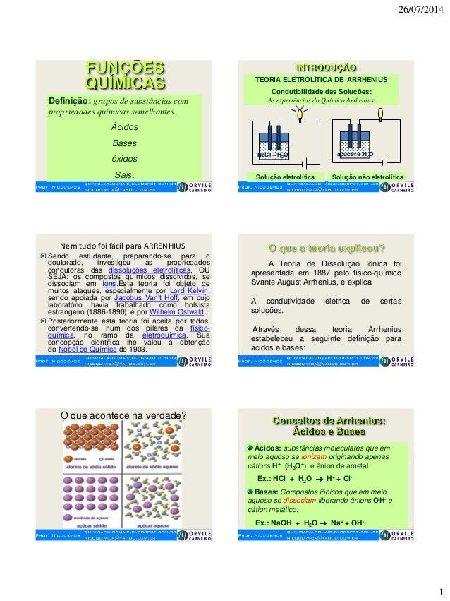 26/07/2014 1 FUNÇÕES QUÍMICAS Definição: grupos de substâncias com propriedades químicas semelhantes. Ácidos Bases óxidos ...