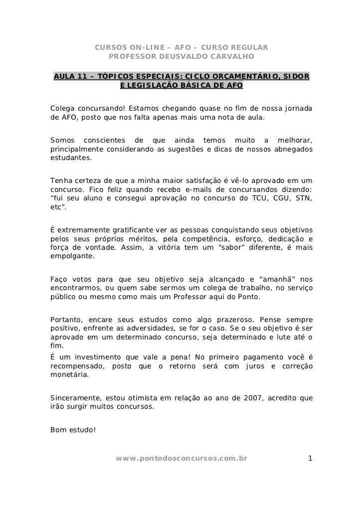 CURSOS ON-LINE – AFO – CURSO REGULAR               PROFESSOR DEUSVALDO CARVALHOAULA 11 – TÓPICOS ESPECIAIS: CICLO ORÇAMENT...