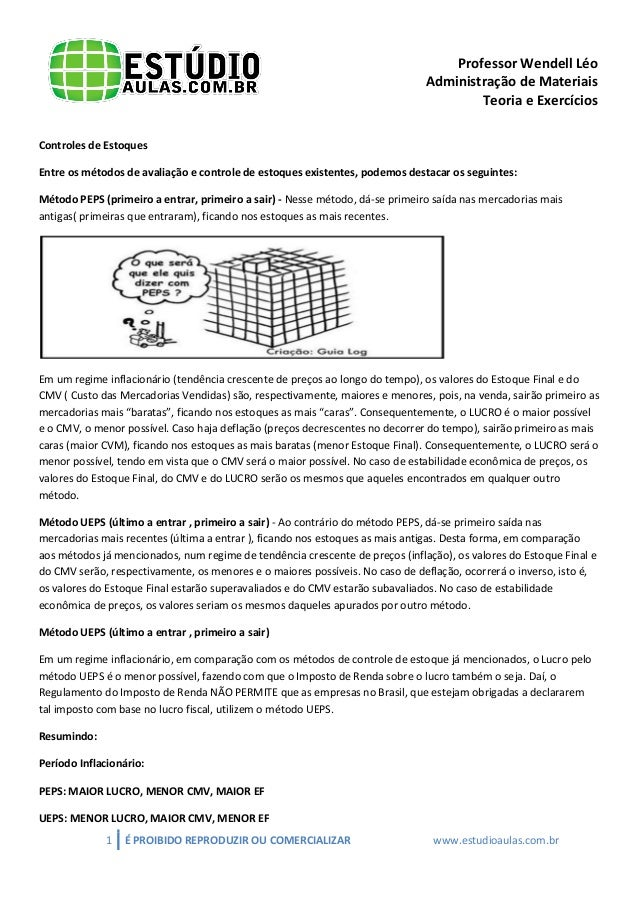 Professor Wendell Léo Administração de Materiais Teoria e Exercícios Controles de Estoques Entre os métodos de avaliação e...