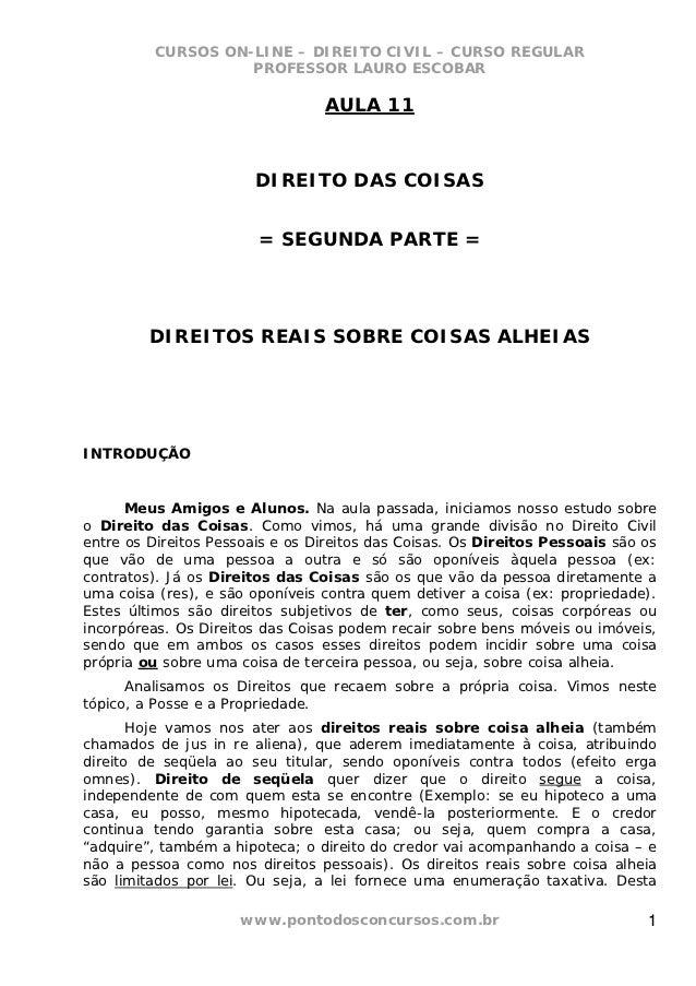 CURSOS ON-LINE – DIREITO CIVIL – CURSO REGULAR                    PROFESSOR LAURO ESCOBAR                                 ...
