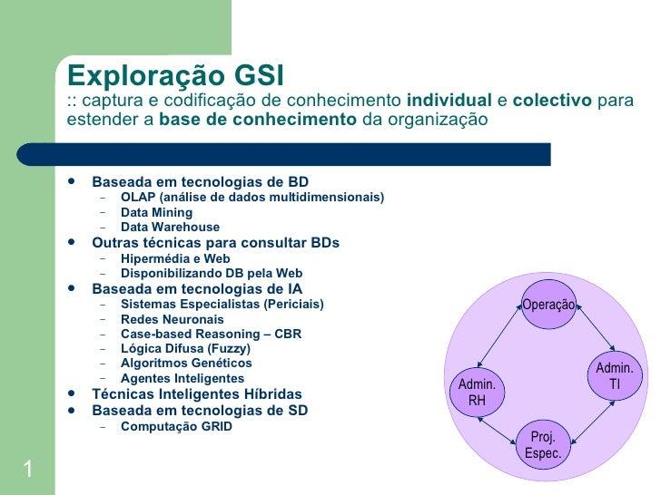 Exploração GSI :: captura e codificação de conhecimento  individual  e  colectivo  para estender a  base de conhecimento  ...