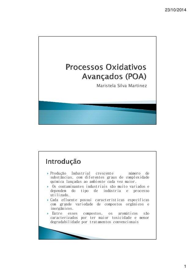 23/10/2014 1 Maristela Silva Martinez  Produção Industrial crescente número de substâncias, com diferentes graus de compl...
