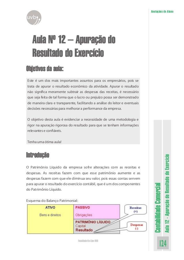 ContabilidadeComercial Aula12-ApuraçãodoResultadodoExercício 124Faculdade On-Line UVB Anotações do Aluno uvb Aula Nº 12 – ...