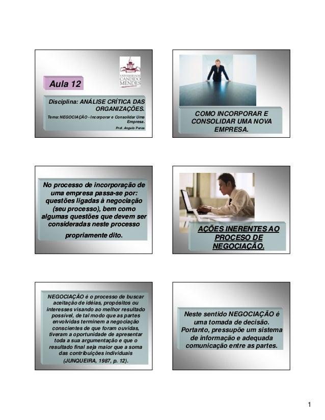 Aula 12 Disciplina: ANÁLISE CRÍTICA DAS ORGANIZAÇÕES. Tema: NEGOCIAÇÃO - Incorporar e Consolidar Uma Empresa. Prof. Angelo...