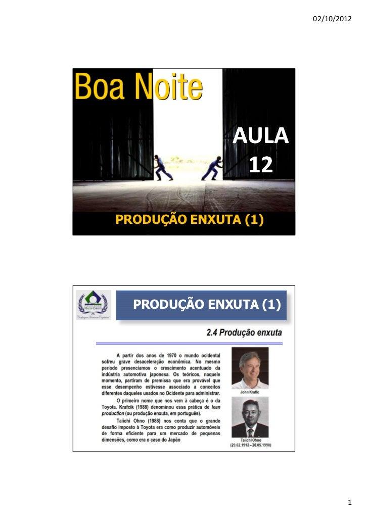 02/10/2012               AULA                12PRODUÇÃO ENXUTA (1)  PRODUÇÃO ENXUTA (1)                                1