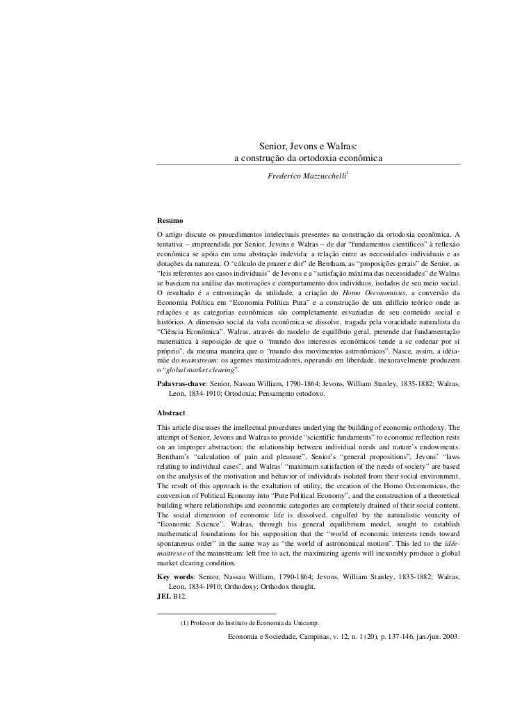Senior, Jevons e Walras:                          a construção da ortodoxia econômica                                     ...
