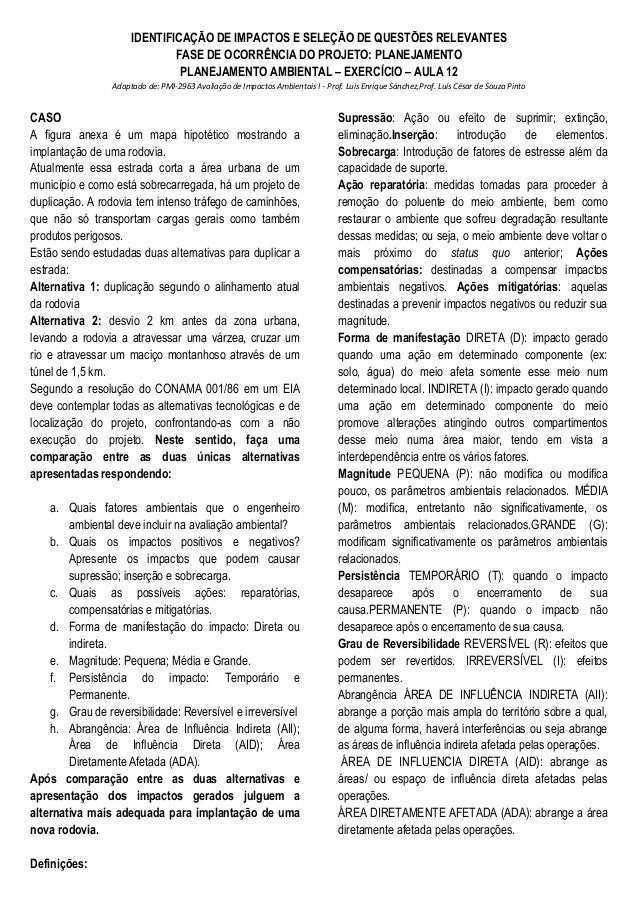 IDENTIFICAÇÃO DE IMPACTOS E SELEÇÃO DE QUESTÕES RELEVANTES FASE DE OCORRÊNCIA DO PROJETO: PLANEJAMENTO PLANEJAMENTO AMBIEN...
