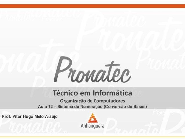 Técnico em Informática Organização de Computadores Aula 12 – Sistema de Numeração (Conversão de Bases) Prof. Vitor Hugo Me...