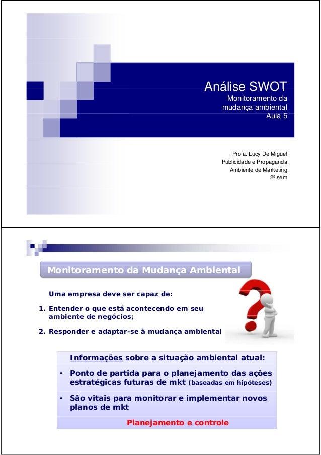 Análise SWOTAnálise SWOT Monitoramento da mudança ambiental A l 5Aula 5 Profa. Lucy De Miguel Publicidade e Propagandap g ...