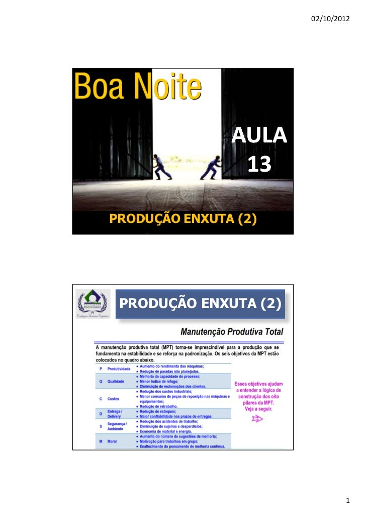 02/10/2012               AULA                13PRODUÇÃO ENXUTA (2) PRODUÇÃO ENXUTA (2)                               1
