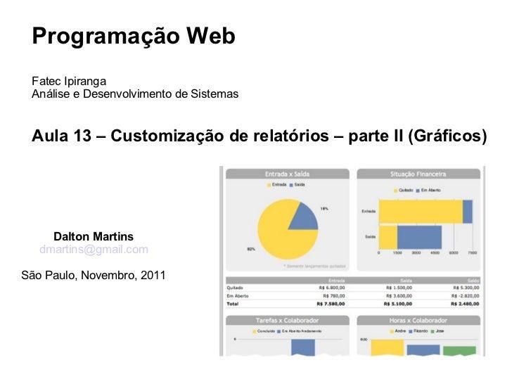 Programação Web Fatec Ipiranga Análise e Desenvolvimento de Sistemas Aula 13 – Customização de relatórios – parte II (Gráf...