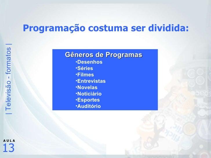 Programação costuma ser dividida: <ul><ul><li>Gêneros de Programas </li></ul></ul><ul><ul><ul><li>Desenhos </li></ul></ul>...