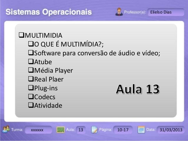 Turma: 2503-B Aula: 10 Pág: 10 a 17 Data: 18-jan-12  xxxxxx 13 10-17 31/03/2013  Instrutor: Ricardo Paladini Matos  Eliels...
