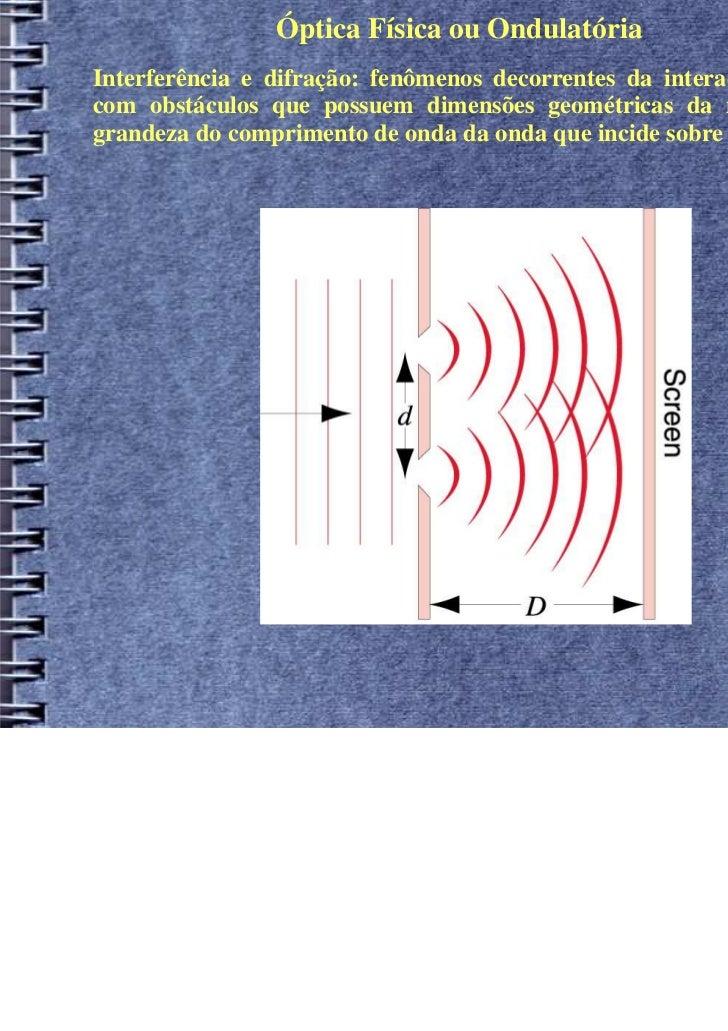 Óptica Física ou OndulatóriaInterferência e difração: fenômenos decorrentes da interação de uma ondacom obstáculos que pos...