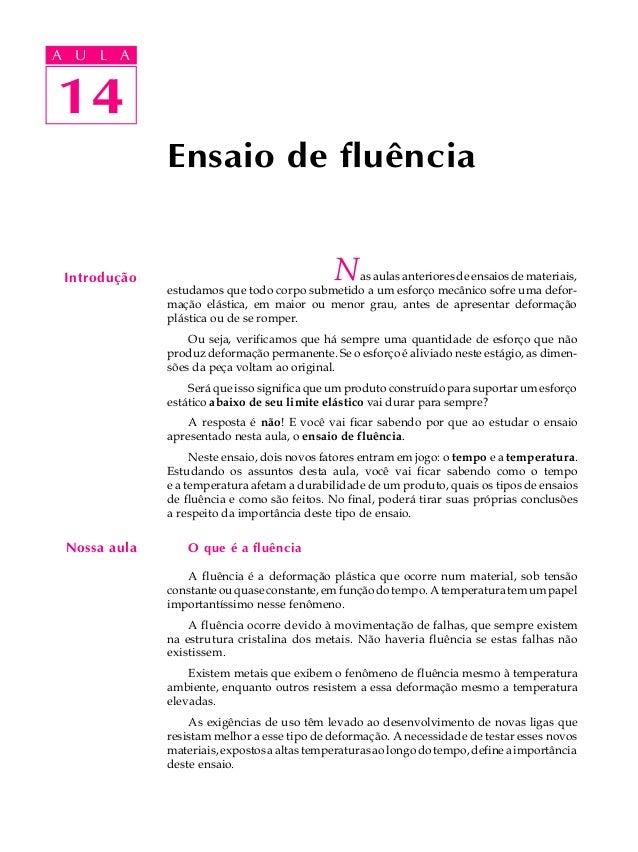 A UA U L A     L A    1414              Ensaio de fluência Introdução                                   Nas aulas anterior...