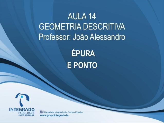 AULA 14 GEOMETRIA DESCRITIVA Professor: João Alessandro ÉPURA E PONTO
