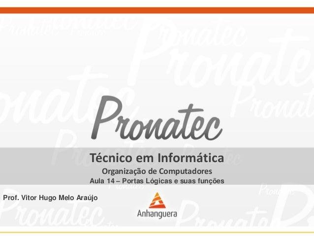 Técnico em Informática  Organização de Computadores  Aula 14 –Portas Lógicas e suas funções  Prof. Vitor Hugo Melo Araújo