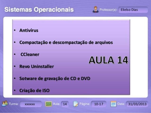 Turma: 2503-B Aula: 10 Pág: 10 a 17 Data: 18-jan-12  xxxxxx 14 10-17 31/03/2013  Instrutor: Ricardo Paladini Matos  Eliels...