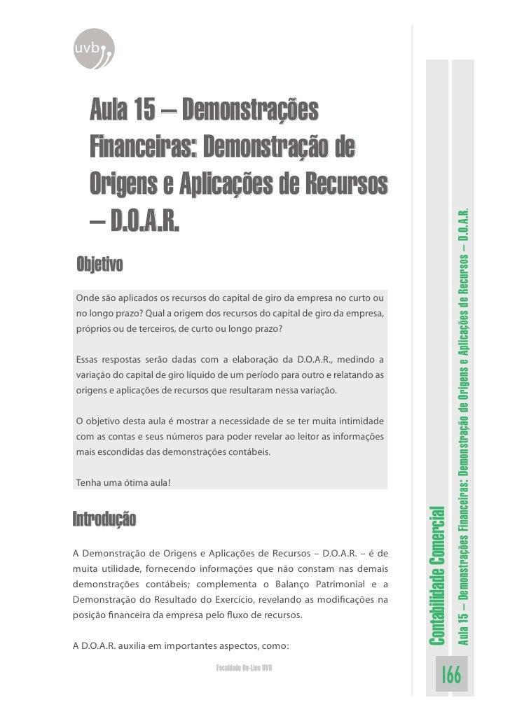 uvb       Aula 15 – Demonstrações    Financeiras: Demonstração de    Origens e Aplicações de Recursos    – D.O.A.R.       ...