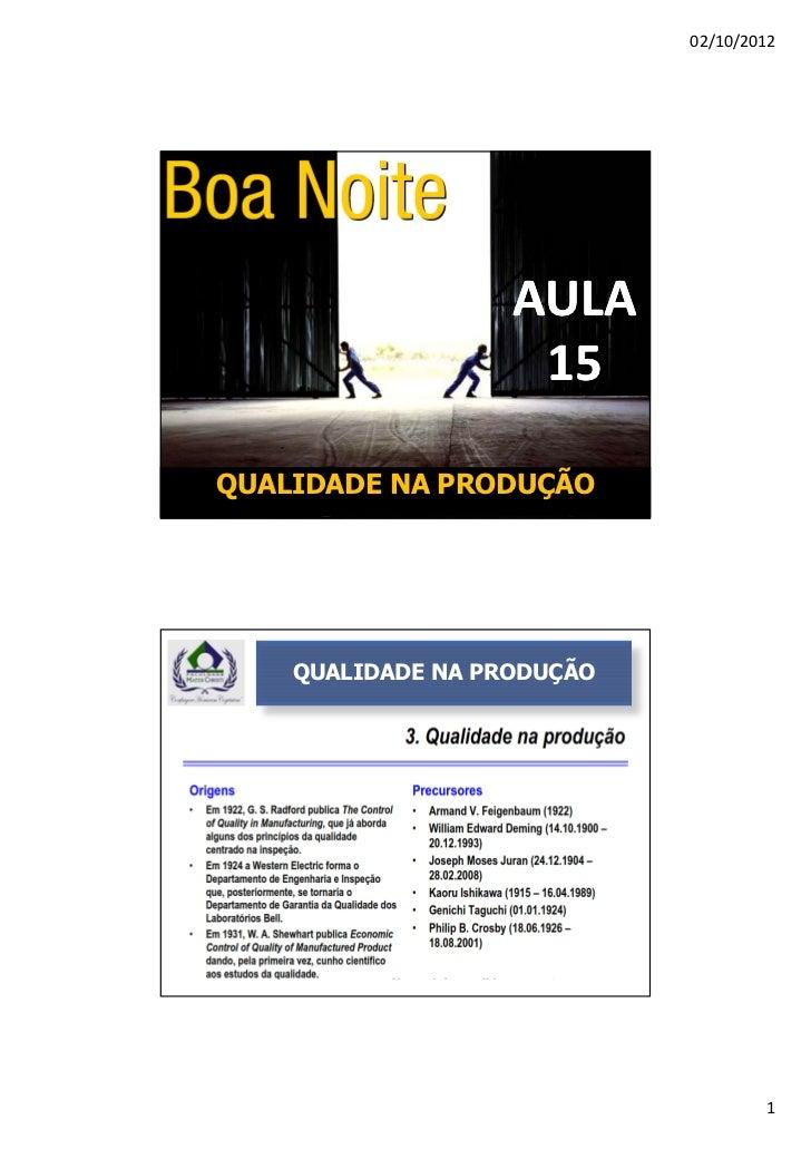 02/10/2012                   AULA                    15QUALIDADE NA PRODUÇÃO    QUALIDADE NA PRODUÇÃO                     ...