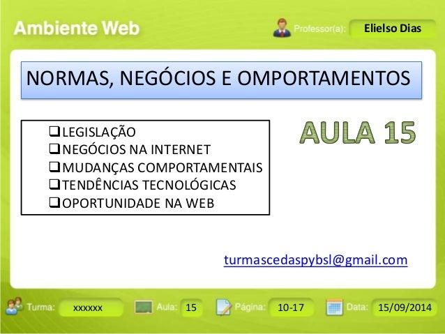 Turma: 2503-B Aula: 10 Pág: 10 a 17 Data: 18-jan-12  xxxxxx 15 10-17 15/09/2014  Instrutor: Ricardo Paladini Matos  Eliels...