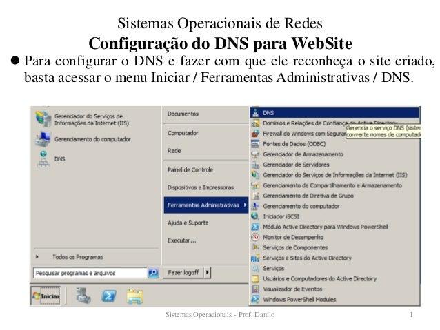 Configuração do DNS para WebSite  Para configurar o DNS e fazer com que ele reconheça o site criado, basta acessar o menu...