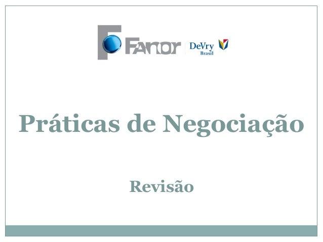 Práticas de NegociaçãoRevisão