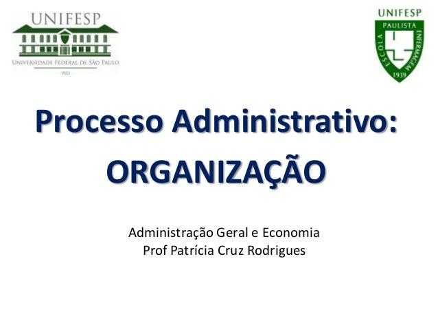 Processo Administrativo:ORGANIZAÇÃOAdministração Geral e EconomiaProf Patrícia Cruz Rodrigues