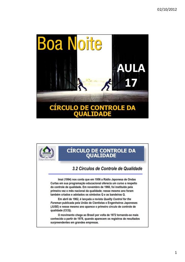 02/10/2012                    AULA                     17CÍRCULO DE CONTROLE DA      QUALIDADE    CÍRCULO DE CONTROLE DA  ...