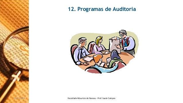 12. Programas de Auditoria  09/11/2014 Faculdade Maurício de Nassau - Prof. Saulo Campos