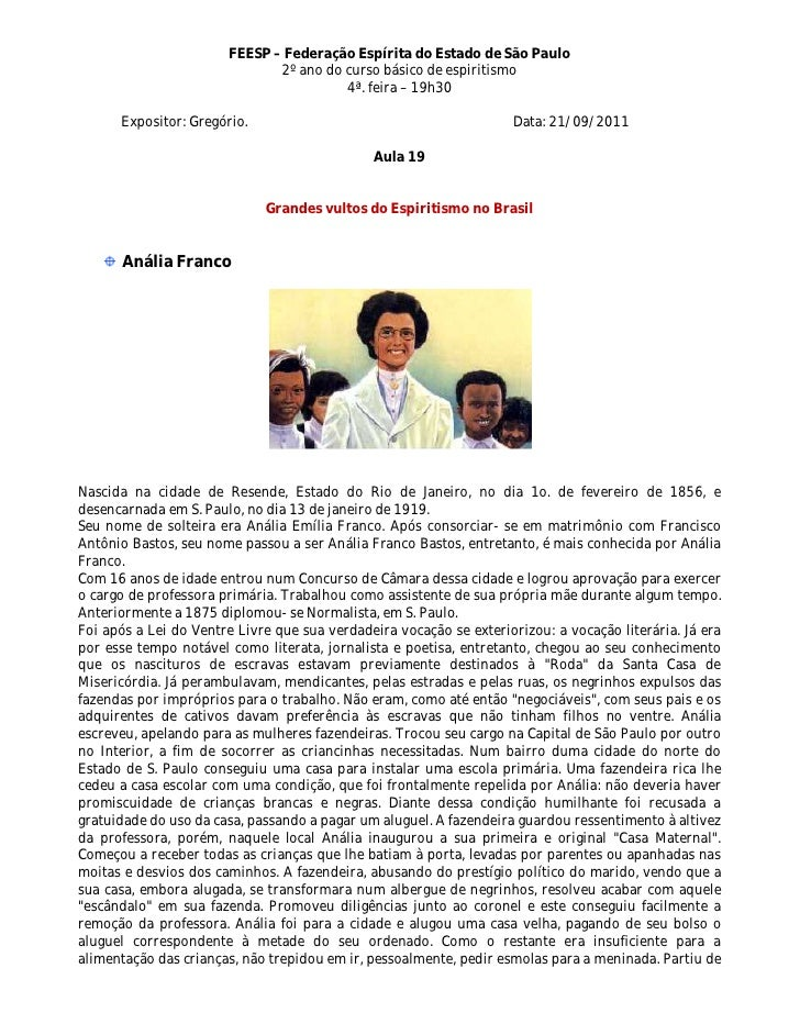 FEESP – Federação Espírita do Estado de São Paulo                              2º ano do curso básico de espiritismo      ...