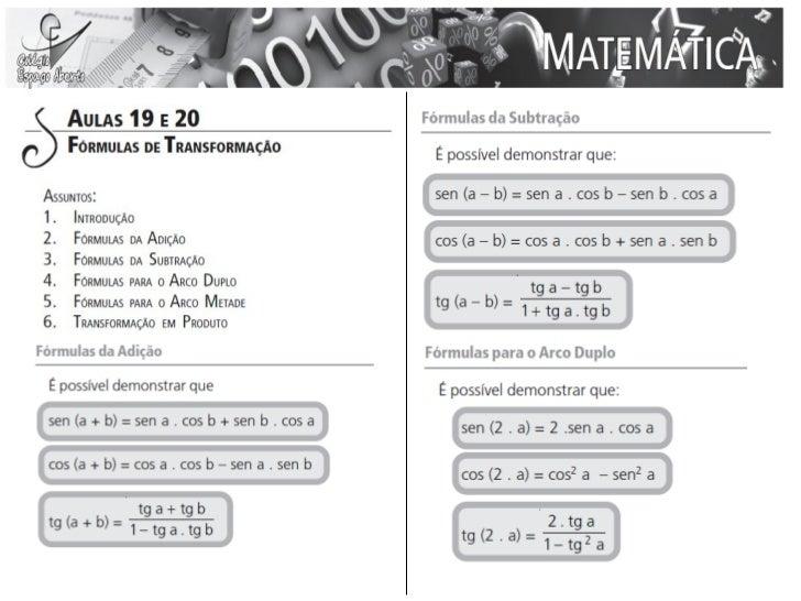 Aula 19 e 20 - Matemática